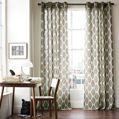 Grey!  Always have your drapes to the floor.  Makes the window look bigger.   U can also put the curtian rod up higher then the wondow frame and have the drepes touch the floor.  Looks better then stopping at the end of the window like your mom maybe use to do