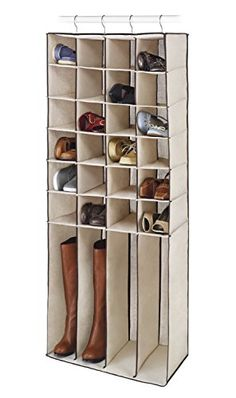 ABOVE EDGE Durable Canvas 28-Section Hanging Shoe or Boot Shelf