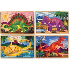 Melissa & Doug Dinosaurs Puzzles in a Box, Multicolor