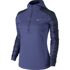 Women's Nike Thermal Dri-FIT Quarter-Zip Running Hoodie ($85) ❤ liked on Polyvore featuring activewear, activewear tops, drk purple, nike activewear, nike and nike sportswear