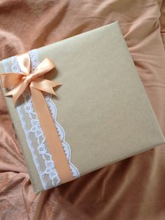 Gift Wrap Idea!!! Love the lace and satin ribbon and bow!!! Use green and red ribbons for Christmas
