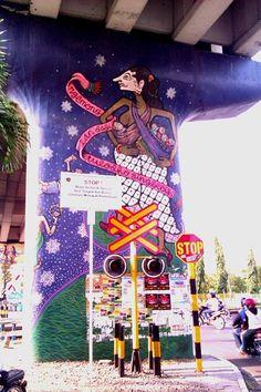 Wayang figure at Lempuyangan flyover in Yogyakara. #streetart #urbanart #wayang #Indonesia