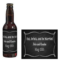 Show your thanks by customizing Eat, Drink and Be Married Beer Bottle Labels on the beverages.