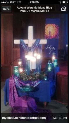 Love the purple, would be good entry way display on sanctuary entrance table. Could also use colored candleholders for advent candles.