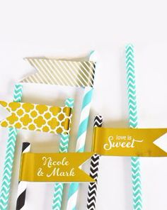 Personalize your straws with these fun metallic flags from @DavidsBridal!
