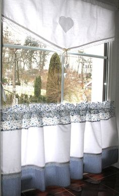Cafe Curtains, Valance Curtains, Valances, Blue White Kitchens, Short Curtains, Kitchen Remodel, Interior Decorating, Sweet Home, Blue And White