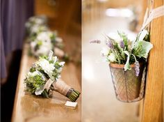 Cute DIY ceremony flowers - can reuse at reception too