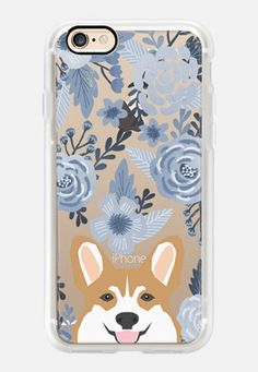 Casetify iPhone 7 Plus Classic Grip Case - Cute Corgi Florals - blue style cute flowers painted flowers clear phone case for corgi owners by Pet Friendly Iphone Cases Disney, Iphone 7 Plus Cases, Cute Cases, Cute Phone Cases, Corgi Phone Case, Cute Corgi, Corgi Dog, Best Iphone, Iphone 11