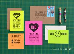 Printable Neon Wedding Invitation, maybe we could just use the one with the diamond on it for invites...