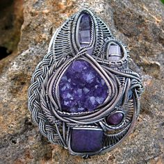Sterling Silver wire wrapped Amethyst, Rose Quartz, Herkimer Diamond, Ruby and Purpurite pendant Wire Pendant, Wire Wrapped Pendant, Wire Wrapped Jewelry, Metal Jewelry, Jewlery, Wire Necklace, Necklaces, Wire Wrapping Crystals, Handmade Jewelry Designs