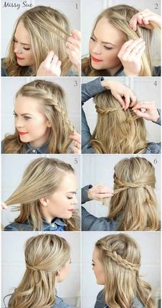 Super sweet everyday hairstyles for medium length # everyday hairstyles # mitt . - Frisuren - - everyday hairstyles,everyday hairstyles for long hair,everyday hairstyles for short hair No Heat Hairstyles, Crown Hairstyles, Hairstyle Ideas, Trendy Hairstyles, Hairstyle Tutorials, Simple Hairstyles For Medium Hair, French Plait Hairstyles, Easy Braided Hairstyles, Braids For Medium Length Hair