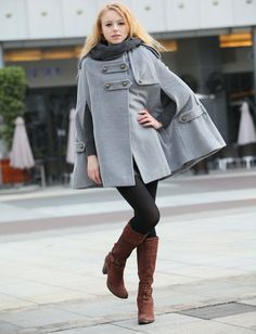 20 Off Sale Grey Hoodie Cashmere Coat Double by Sophiaclothing, $99.99