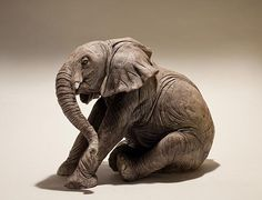 Clay Elephant Sculptures