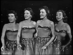 """The Chordettes """"Lollipop"""" & """"Mr. Sandman"""" - 1958 on the TV with Dick Clark.  Check out the guys in the audience wearing coats and ties."""