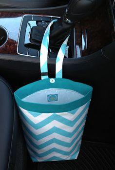 Tutorial for making a plastic bag lined trash holder for the car.