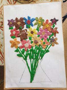 Květiny vytvořené plastelínou. Napkins, Tableware, Dinnerware, Towels, Dinner Napkins, Tablewares, Dishes, Place Settings