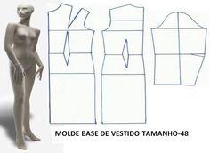 MOLDE BASE DE VESTIDO TAMANHO 48 O molde base de vestido tamanho 48 é o ponto de partida para poder fazer a transformação do modelo de vestido que pretende