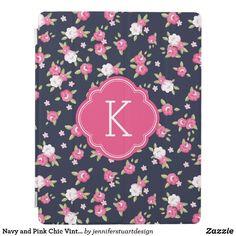 Shop Navy and Pink Chic Vintage Floral Print Monogram iPad Smart Cover created by jenniferstuartdesign.