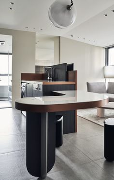 A Compact Taipei Apartment Full of Curvy Details - Design Milk Best Living Room Design, Living Room Designs, Home Decor Furniture, Cool Furniture, Kitchen Furniture, Furniture Ideas, Inexpensive Furniture, Furniture Websites, French Furniture
