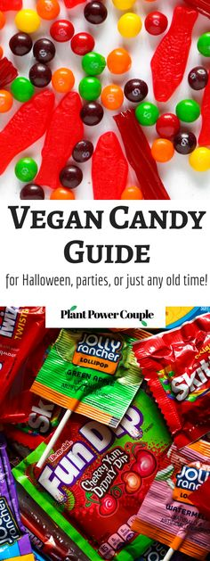 Vegan Candy Guide for Halloween parties or just any old time This comprehensive guide includes helpful info on what store-bought candies are free of animal ingredients and suitable for vegans Vegan Candies, Vegan Treats, Vegan Foods, Vegan Vegetarian, Vegan Recipes, Vegan Halloween Candy, Halloween Treats, Halloween Parties, Halloween Recipe