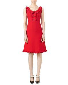 Gucci Cotton Silk Crepe Dress Intensive Red Cloth