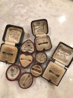 Collection Vintage antique ring boxes lot leather by jolievintagem