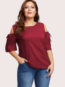 Shop Cold Shoulder Drawstring Sleeve Keyhole Back Top online. SheIn offers Cold Shoulder Drawstring Sleeve Keyhole Back Top & more to fit your fashionable needs. Trendy Fashion, Plus Size Fashion, Fashion News, Womens Fashion, Plus Size Blouses, Plus Size Tops, Leopard Print Top, Going Out Tops, Long Sleeve Tops