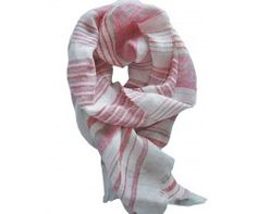 Foulard  lin rose, gris et blanc SALERNE