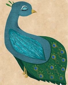 Peacock Art - The Prettiest Peacock Art Print from my Fancy Feathered Friends series.