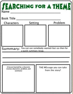 Theme Organizer - I like this. Theme is difficult to teach and this gives a list of common themes taught in stories; possibly use for readers response?