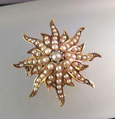 Antique Victorian Era 14k Gold Seed Pearl Sunburst Pin Pendant Watch Holder   eBay, $359.99