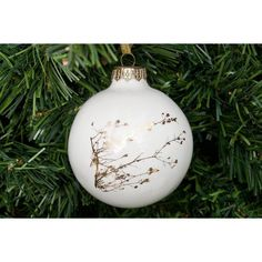 Kina Ceramics Christmas Decoration With Twig In Gold Or Platinum ($24) ❤ liked on Polyvore featuring home, home decor, holiday decorations, christmas ornaments, christmas home decor, xmas ornaments, christmas tree ornaments and gold ornaments