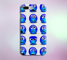 Blue Emoticon Faces Case for iPhone 5 6 6 7 7 and by MyCaseInk