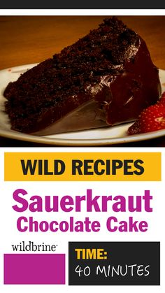Sauerkraut might not spring to mind when planning dessert but, this chocolate sauerkraut cake is delicious. The kraut adds moistness, acidity and texture. Cheesecake Desserts, Köstliche Desserts, Chocolate Desserts, Dessert Recipes, Cheesecake Strawberries, Chocolate Cake, Healthy Cupcakes, Sauerkraut Recipes, Easy No Bake Desserts
