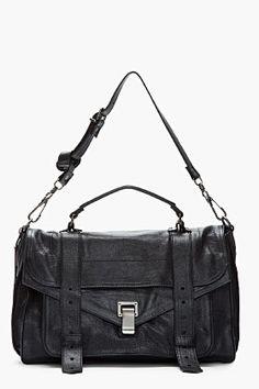 PROENZA SCHOULER Medium Black Lux Leather PS1 Messenger Bag
