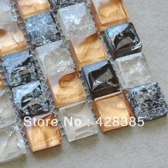 FREE SHIPPING Crackle Glass Mosaic Tiles, bathroom mosaic tiles, Kitchen Backsplash, wall tiles-in Mosaics from Home Improvement on Aliexpress.com