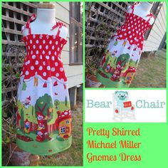 Handmade By Bear In A Chair Pretty Shirred Michael Miller Gnomes Dress