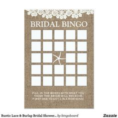 Rustic Lace & Burlap Bridal Shower Bingo Cards
