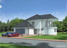 Projekt domu LK&827 Ceramic Roof Tiles, Concrete Staircase, Balcony Doors, Apartment Floor Plans, Two Storey House, Concrete Blocks, Pool Houses, Ground Floor, Home Projects