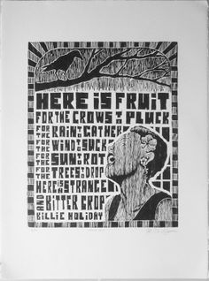 Strange Fruit/Billie Holiday handprinted limited by Brian D. Smith