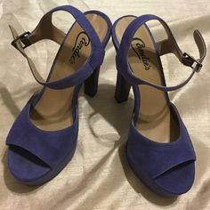 Candie's 5 inch heel platform sandals Pre owned 5 inch heels sandal, with side ankle buckle, and  a front shoe platform. Color: purple tone. Very stylish shoe which could be dressed down with shorts or jeans, or dressed up with date night dress or skirt! In good condition! :) Candie's Shoes Heels