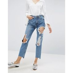 ASOS ORIGINAL MOM Jeans in Phoebe Mid Stonewash with Busts and Stepped... ($58) ❤ liked on Polyvore featuring jeans, blue, high rise jeans, zipper jeans, flap-pocket jeans, stonewash blue jeans and high waisted jeans