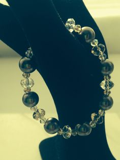 Champagne & smokey Swarovski crystal bracelet
