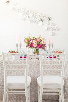 Bright colored table setting for the holiday season via Style Me Pretty