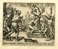 Emblem; A crouching, naked women covers her face and sits on a pedestal-pyre; a group of men attempt to ignite her with candles and smoke billows from her posterior; illustration from the brothers de Bry's 'Emblemata Saecularia' (Frankfurt). 1592