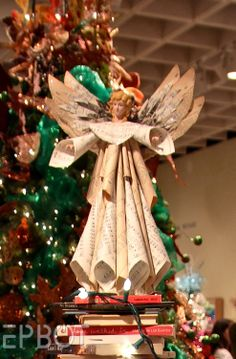 EPBOT: The Big Christmas Tree Roundup; sheet music paper angel--potential DIY?