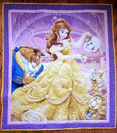 Beauty and the Beast Quilt, Child quilt, Lap Quilt, Wall Hanging, Belle, Beast, Chip Tea Cup,  Mrs. Potts Teapot, Cogsworth, Lumière B-90