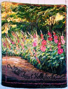"""""""Tall Trees and Hollyhocks"""" designed and hooked by Doris Eaton"""