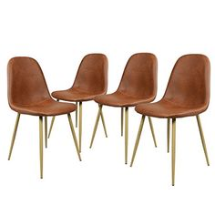GreenForest Eames Chairs Washable Pu Leather Cushion Seat and Back Strong Metal Legs for Dining Room Chairs Set of