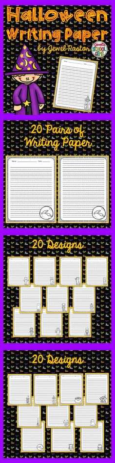 HALLOWEEN WRITING PAPER   This resource contains a PDF file composed of 20 pairs of writing paper/sheets with a Halloween theme for a total of 40 sheets.  Please see the Preview to get an idea of what the print-and-go sheets look like. All the sheets are in black and white.